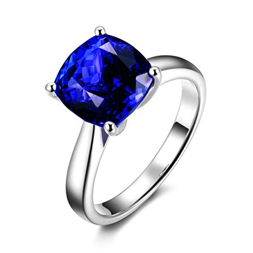 Ubestlove 18K Gold Engagement Ring Gifts For Girlfriend Young Inlaid 3Ct Blue Tanzanite Ring 3Ct I 1/2