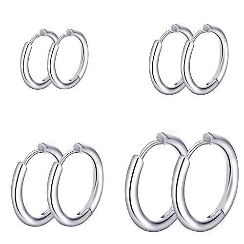 HO2NLE Klein Creolen 4 Paar Ohrringe Damen Silber Creolen Hochglanz Edelstahl Ohrringe Set für Frauen Herren Ohr Schmuck Ringe 8, 10, 12, 14 mm