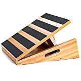 Professional Wooden Slant Board, Adjustable Incline Board and Calf Stretcher, Stretch Board, Extra Side Handle Design for Portability, 16 X 12.5 Inches 5 Positions (450 LB Capacity) (Partial-coverage)
