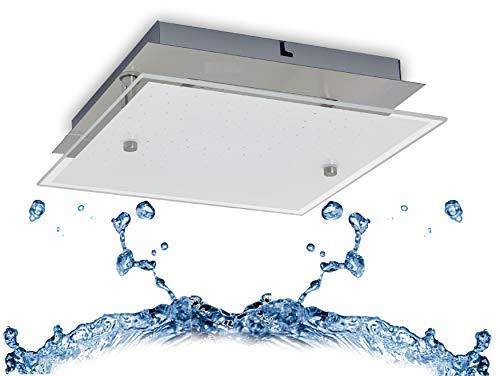 Trango 3102 Feuchtraum IP44 LED Deckenstrahler Eckig für Bad 3-Stufen dimmbar *LILY* inkl. 12 Watt 3000K warmweiß LED Modul, Design Kristalleffekt Glas Lampenschirm, Deckenlampe, Wandleuchte, Badlampe