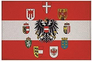 U24 Aufnäher Österreich mit 9 Bundesländer Wappen Fahne Flagge Aufbügler Patch 9 x 6 cm