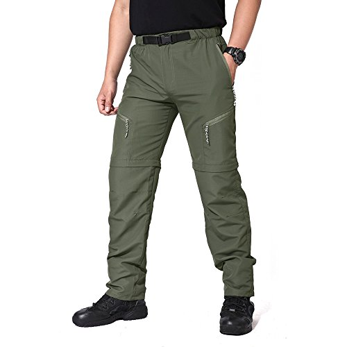 Pantalon de randonnée à séchage rapide pour homme TACVASEN XL Vert armée.