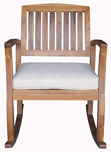 Best Christopher Knight Home Selma Acacia Rocking Chair with Cushion, Teak Finish