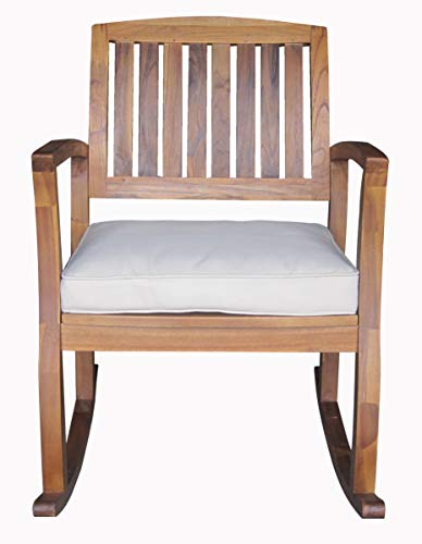 Christopher Knight Home Selma Acacia Rocking Chair with Cushion, Teak Finish