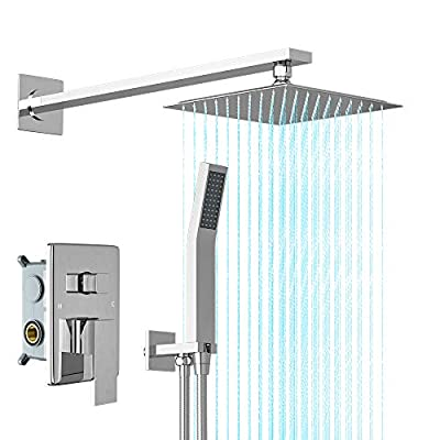 RUIFUDA 10 Inch Shower System Stainless Steel Bathroom Luxury Rain Mixer Shower Combo Set Wall Mounted Rainfall Shower Faucet Head System (Rough-In Valve Body and Trim Included)