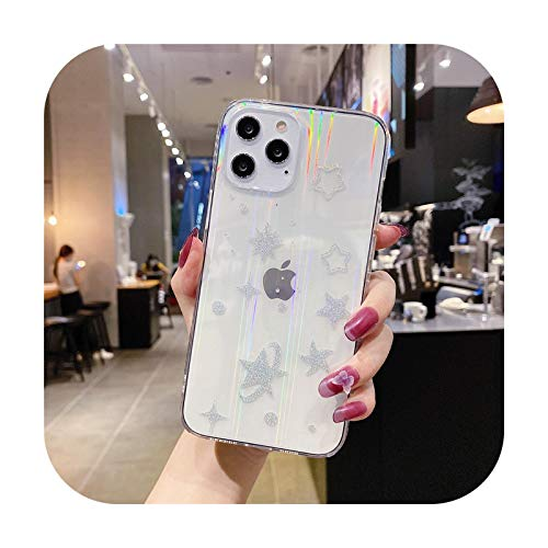 Para iPhone 12 Mini 12 11 Pro Max X XS Max XR SE2 7 8 Plus caso láser Sttary Sky transparente teléfono contraporta-06-Para iPhone 11