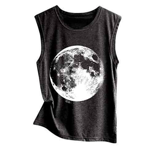 HIRIRI Women Vest Sleeveless Shirts Printed Moon Earth Planet Pattern Crop Tank Top Loose Cotton Blouses (S, Black)