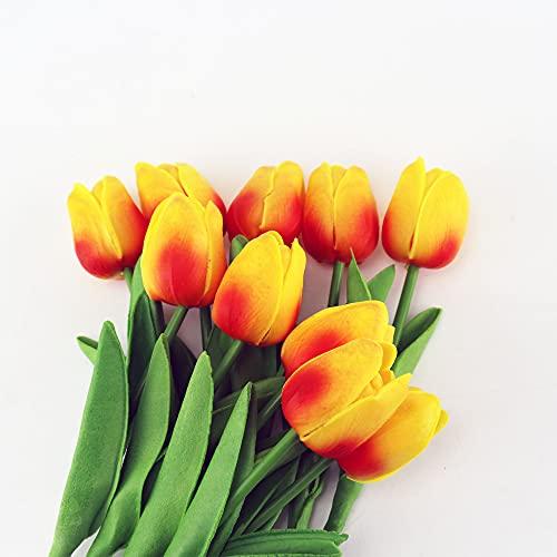 Künstliche Tulpen, 10 Stück Künstliche Blumen, Künstliche Deko Blumen Gefälschte Blumen Orange Blumenstrauß Seide Tulpe für Hochzeits-Bouquets, Zuhause, Hotel, Tisch-Dekoration,Tulpe Künstliche