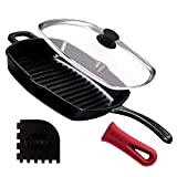 Cast Iron Square Grill Pan with Glass Lid - 10.5 Inch Pre-Seasoned Skillet with Handle Cover and Pan Scraper - Grill, Stovetop, Induction Safe - Indoor and Outdoor Use - for Grilling, Frying, Sauteing