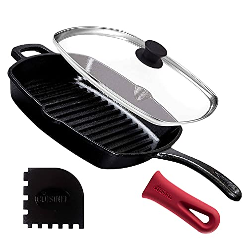 Cast Iron Square Grill Pan with Glass Lid - 10.5 Inch...