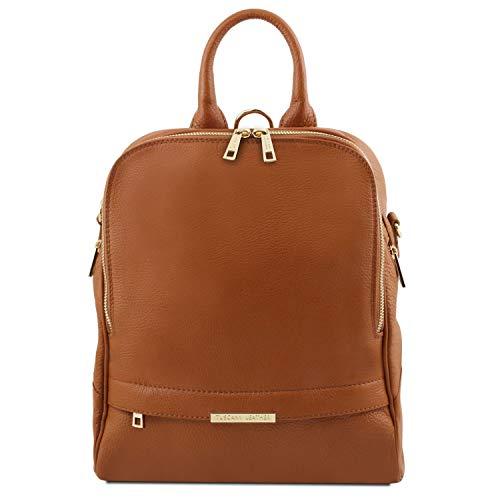 Tuscany Leather TLBag Lederrucksack für Damen aus weichem Leder Cognac