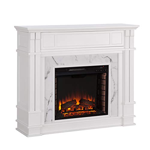 Southern Enterprises Highgate Faux Cararra Marble Electric Media fireplace, White