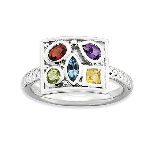 Lazo de la compañía de la joyería: rodio plateado plata de la piedra preciosa Collage anillo apilable