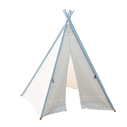 Liergou Childrensplay Tent Children's Teepee Set Indoor Outdoor Toy Tent For Indoor Gift for Kids (Color : Blue, Size : ONE SIZE)