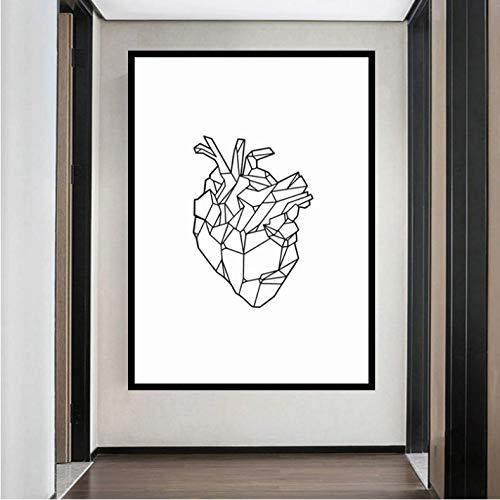Geometrico Cuore Arte Poster Stampa Arte della Parete Anatomia Medica Cuore Tela Pittura Immagine della Parete per La Decorazione della Stanza Wall Art(Senza Cornice 50X70Cm),A1257