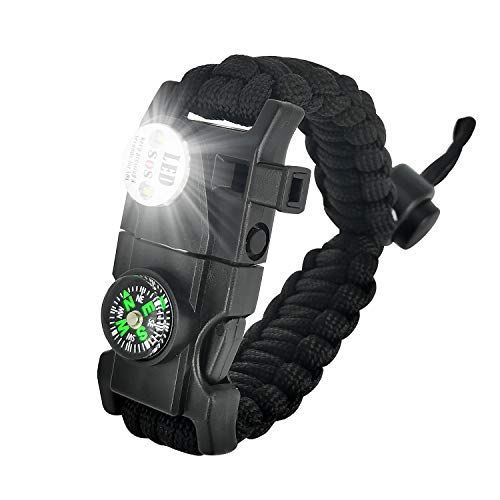 XINISI Adjustable Survival Bracelet, 7 core Paracord 20 in 1 Emergency Sports Wristband Gear kit Waterproof LED SOS Light, Compass, fire Starter Multi-Tool Adventure (Black)