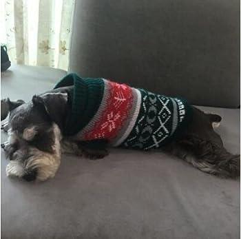 Tineer Manteau de Tricot de Flocon de Neige de Chien d'animal familier, Chiot Chat Pull-Overs Sweater Jacket Hiver Noël vêtements Chauds (L, Vert)