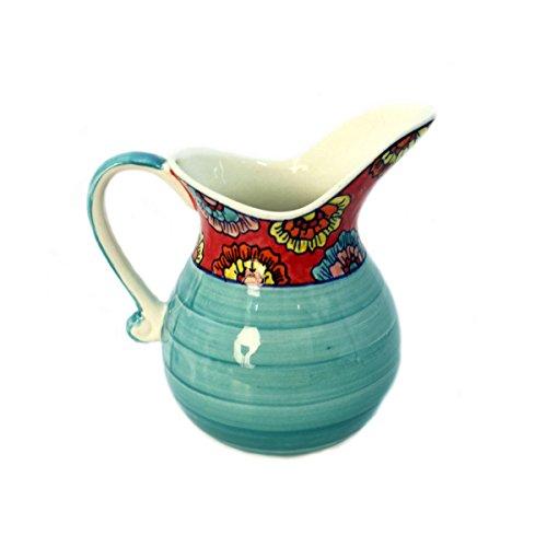 Gall&Zick Krug Kanne Karaffe Wasserkrug Saftkrug Keramik Bemalt Wasserkaraffe Getränke Milchkanne (Türkis)