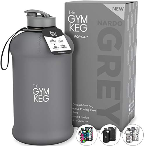 The Gym Keg Sports Water Bottle (2.2 L) Insulated | Half Gallon | Carry Handle | Big Water Jug for Sport | Large Reusable Water Bottles | Ecofriendly, Tritan BPA Free Plastic, Leakproof (Nardo Grey)