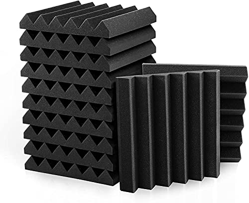 Frcevzoie 24 Pack 2' x 12' x 12' BLACK Acoustic Wedge Studio Foam Sound Absorption Wall Panels (BLACK)