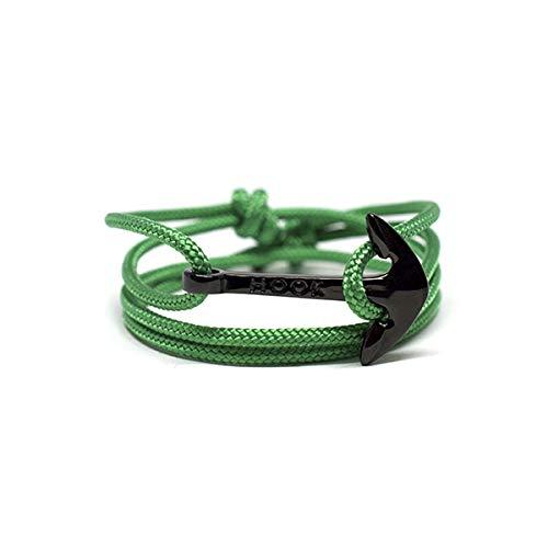 HOOK Pulsera Ancla Jerra Cordón Náutico Verde Cierre Ancla de Acero Inoxidable para Hombre y Mujer - 1069 (Negro)