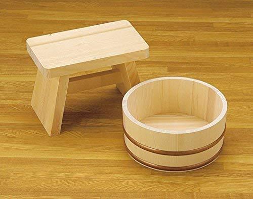 Yamako Cubo de baño japonés de madera natural Furo-Oke (juego de silla y cubo de 22 cm)