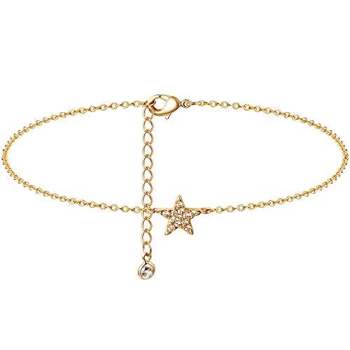 Fettero Women Gold Anklet 14K Gold Plated Dainty Foot Chain Boho Beach Simple Minimalist Jewelry