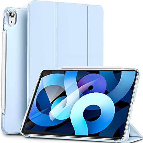 Sripns Trifold Hülle für iPad Air 4 Generation 10.9 Zoll 2020, [Kompatibel mit Pencil] Ultra Dünn Leicht Smart Case mit Transluzent Frosted Rück und Auto Schlaf/Wach - Himmelblau