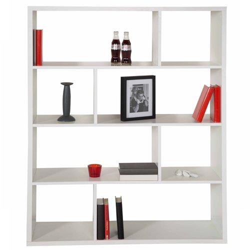 Regale/Raumteiler Toronto mit asymmetrischer Facheinteilung, Weiss mit PVC-Kanten, in verschiedenen Grössen und mit diversem Zubehör (8 Fächer, breit, Weiss)