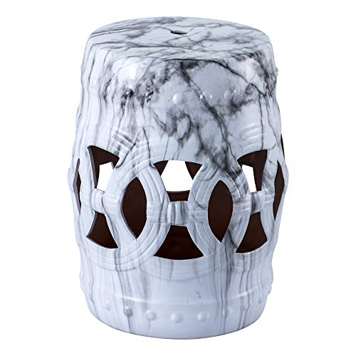 Panbado Garden Stool Ceramic Side Table - Indoor Outdoor Patio Side Accent Table Marbling Effected End Table, Ideal for Garden Party, Outdoor Leisure and Home Decor , (13L x 13W x 18H inch)