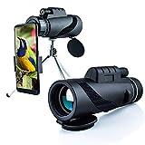 Telescopio Monocular 40x60 HD Impermeable Telescopio para Movil con Soporte para Smartphone y Trípode, para Observación de Aves, Deporte al Aire Libre