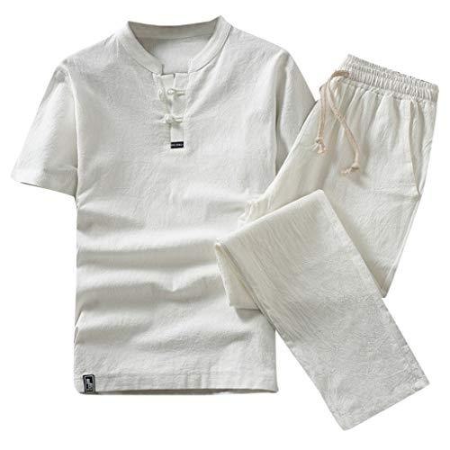 MMOOVV Herren Sommer Schlafanzug Mode Baumwolle Leinen Kurzarm Shorts Anzug Sport Home Service Pyjamas (Weiß 2XL)