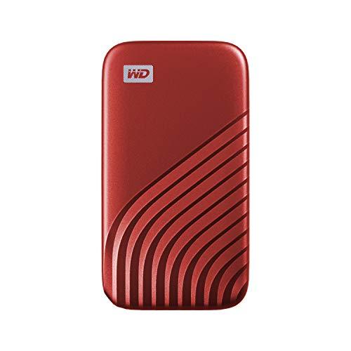 WD My Passport SSD 1 TB mobile Festplatte (NVMe-Technologie, USB-C und USB 3.2 Gen-2 kompatibel, Lesen 1050 MB/s, Schreiben 1000 MB/s) rot