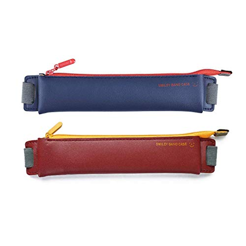 LUFOX 2-Pack PU Leather Pen Pencil Pocket Case Sleeve Holder Pouch with Elastic Band for Book Notebook Bible (Dark Blue+burgundy)