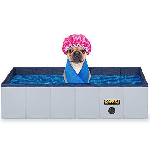KOPEKS Outdoor Rectangular Swimming Pool Bathing Tub - Portable Foldable - Large - 43' x 27' - Grey