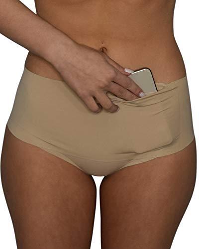 Vockets - Women's Hidden Pocket Underwear - Discreet Stash Panties - Seamless Brief - No Show Panty Lines - Keeps Cell Phones Credit Cards, ID, and Money Safe (Nude) (Medium)