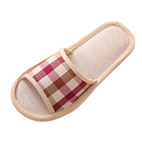 Riou Damen Herren Leinen Hausschuhe Winter Indoor rutschfeste Bequem Weicher Boden Flache Pantoffeln Slipper
