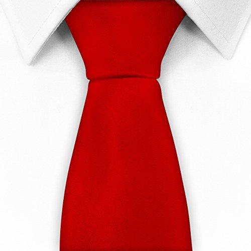 Klassische Krawatte inkl. Anleitung - - viele Farben Satin Schlips Herren , Größe:8 cm;Farbe:rot