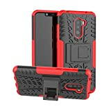 Xiaomi Pocophone F1 Case, Shockproof Rugged Anti-Drop Armor Hybrid Full-Body Holder Protective Back Cover with Kickstand for Xiaomi Pocophone F1 w/Tempered Glass Screen Protector. (Black&Red)