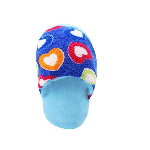 Naisidier Forma del Perro casero Squeak Juguete de la Felpa Suave Zapatilla Juego Dientes Juguete Juguete de la Limpieza Morder Relleno por un corazón Pequeño Mediano Perro de Perrito Azul