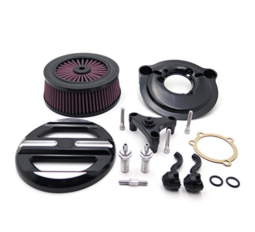 HONGK- Black Skull Grille Air Cleaner Intake Filter System Kit Compatible with Harley 2007-later XL Sportster 1200 Nightster 883 XL883 Low XL1200L Seventy Two Forty Eight [B07F3FWLZ3]