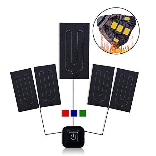 Almohadilla Eléctrica para Ropa, Queta USB Almohadilla Térmica 5V 2A Impermeable, Cojín de Calefacción Eléctrica para Ropa con 3 Niveles de Temperatura Ajustables 30-55 ° (Versión Nueva)