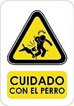 Señal Cuidado Con El Perro 14.8x21cm | Señaletica en Material PVC Resistente de 3mm