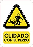 Oedim Señaletica señal Cuidado con El Perro A5 (14,8x21cm) | Señaletica en Material PVC Resistente de 3 mm
