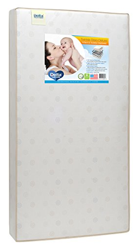 Best Bargain Delta Children Twinkle Stars Deluxe Innerspring Crib and Toddler Mattress | Waterproof ...