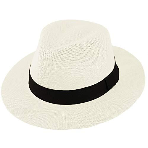 """Unisex Summer Light Panama Derby Fedora Wide 2-3/8"""" Brim Hat Adjustable White"""