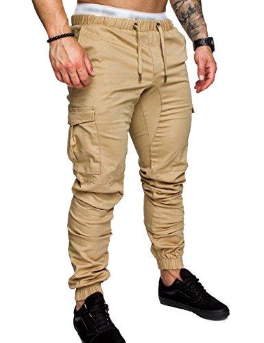 SOMTHRON Herren Elastische Taille Gürtel Baumwolle Jogging Sweat Hosen Plus Size Mode Lange Sports Cargo Hosen Shorts mit Taschen Joggers Activewear Hosen, Khaki, L