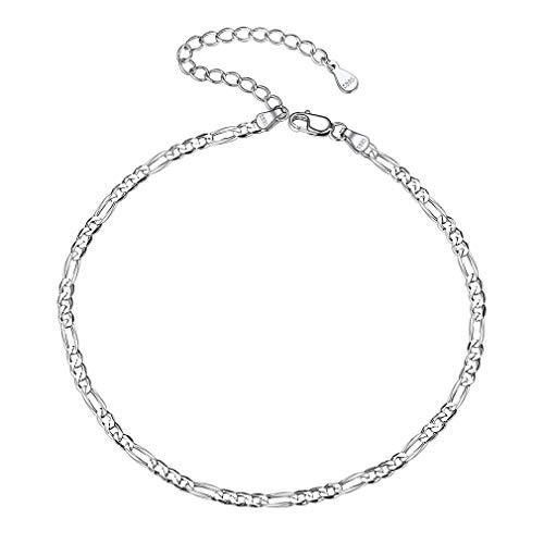 PROSTEEL Silver Anklet Women Figaro Foot Bracelet Girl's Anklet Chain