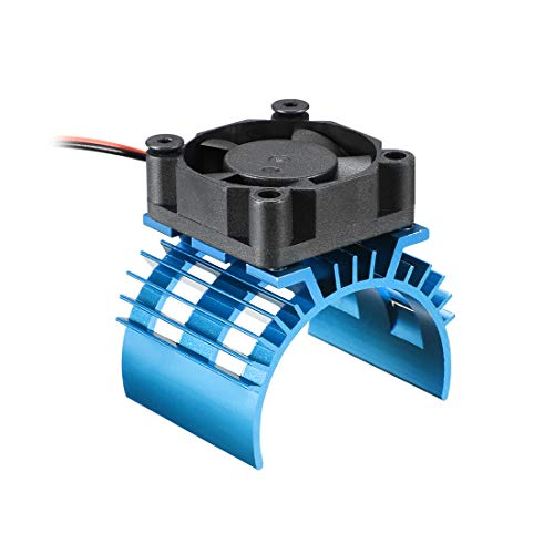 uxcell Aluminum Electric Engine Motor Heatsink with Cooling Fan Blue for DIY Brushed Brushless Motor