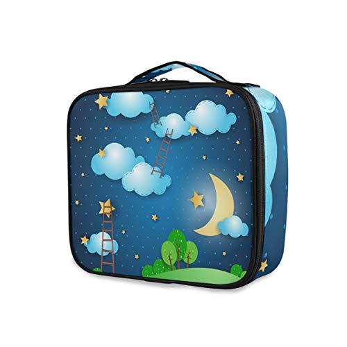 Filles Voyage Étoilé Ciel Lune Nuit Échelle Trousse De Toilette Trousse De Maquillage Portable Outils De Rangement Cosmétique Train Cas
